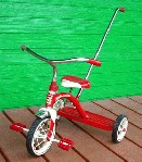 /#34T Classic Red Tricycle With Push Handle