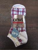 /anvilアンビル 靴下 3足組 ブロックチェック